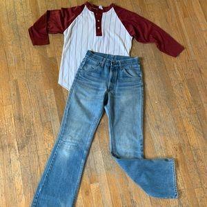 Vintage distressed flared jeans